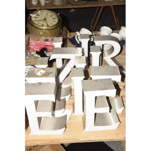 40 - A group of 13 industrial style letters  Height 22cm.  Letters to include E, I, Z and R etc....
