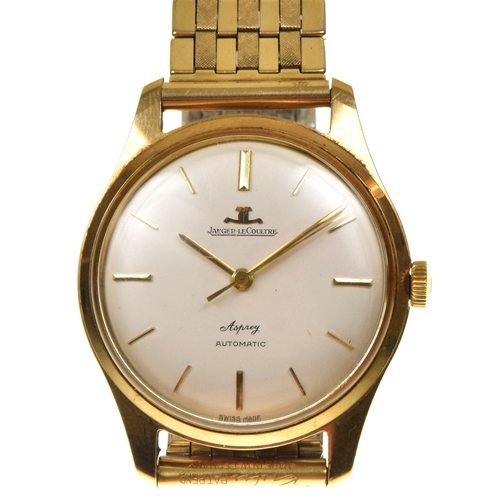 11 - A 9ct gold 1960s Jaeger Le Coultre for Asprey gents wristwatch The circular white dial with baton ho...