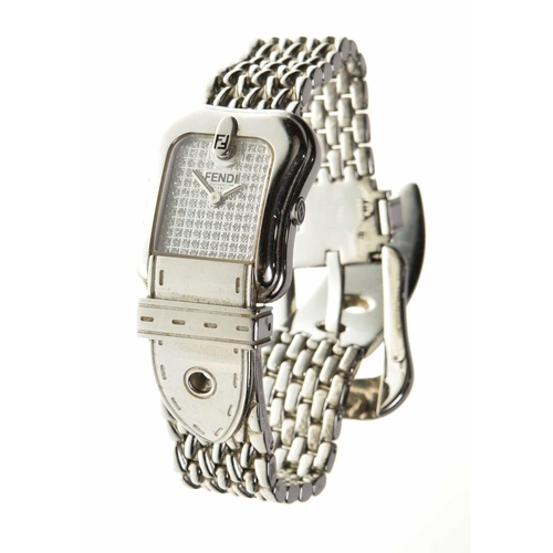 17 - A Fendi stainless steel and diamond buckle watch The rectangular shape diamond dial signed Fendi, wi...