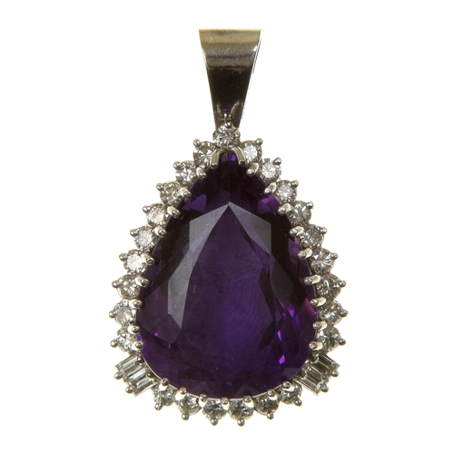 27 - An amethyst and diamond pendant The pear shape amethyst within a brilliant and baguette cut diamond ...