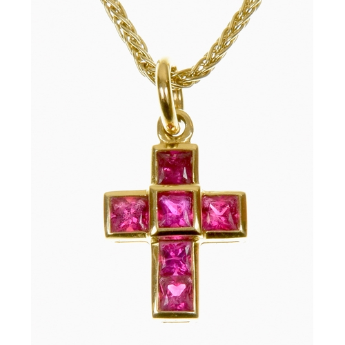 3 - An 18ct gold Theo Fennell ruby cross pendant The square shape ruby cross with a hoop surmount, suspe...