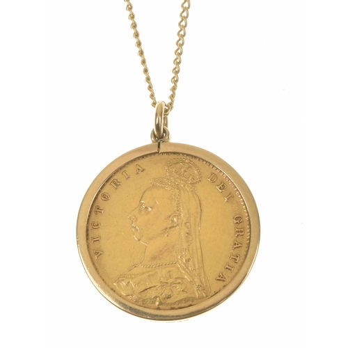 38 - A late Victorian half sovereign pendant The late Victorian half sovereign, dated 1887 within a polis...