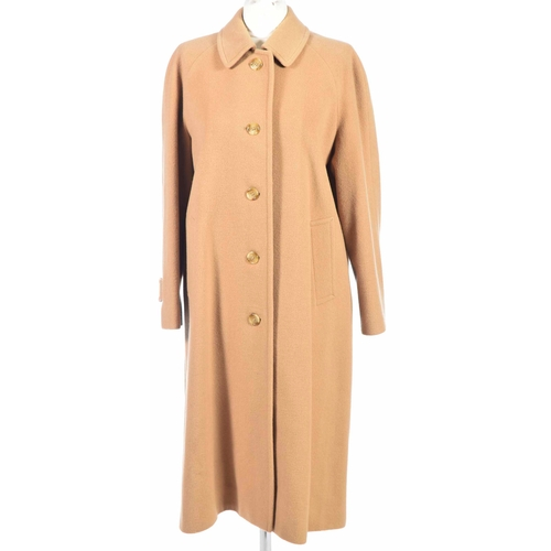 39 - A Burberry wool and camel hair coat The tan wool and camel hair coat with notched lapel collar to th...