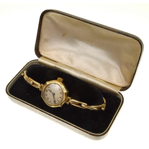 49 - An 18ct gold ladies Rolex wristwatch The circular shape dial with Arabic hour markers within a case ...
