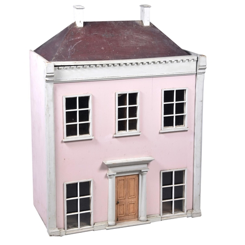 30 - A 19th Century Georgian style two storey doll's house With Georgian style windows to front and Georg...