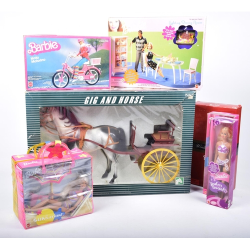 33 - A boxed Pedigree Sindy Gig and Horse  And seven boxed Barbie related items by Mattel, including doll...
