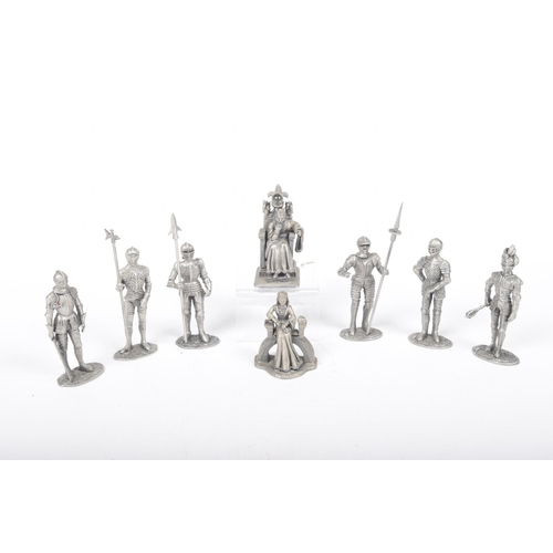 42 - A collection of eight metal figures Comprising King Arthur, Queen Guinevere and six Knights of the R...