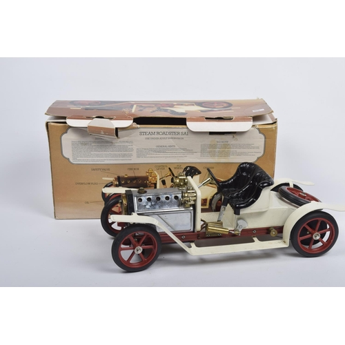 49 - A boxed Mamod steam roadster SA1  White body with black seat, chrome bonnet and red chassis and whee...