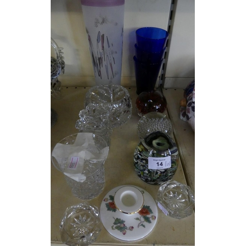 14 - A mixed lot of glasswares comprising Caithness Harlequin paperweight, various glass vases, preserve ...