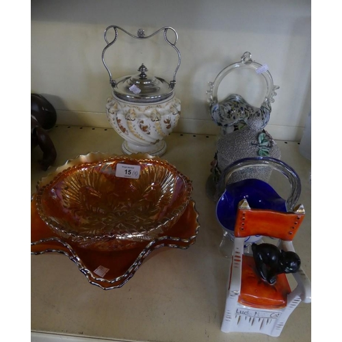 15 - A mixed lot comprising Carnival glass dishes, biscuit barrel, tobacco jar, glass vases, lucky Manx c...
