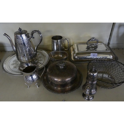 17 - A mixed lot of silver-plated items comprising entree dish, tea wares, circular bowl, muffin dish and...