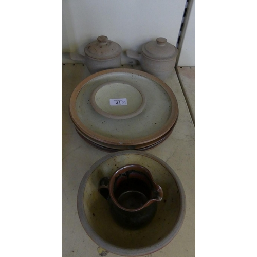 21 - A mixed lot of Leech Domestic studio pottery comprising plates, covered dishes, bowls etc....