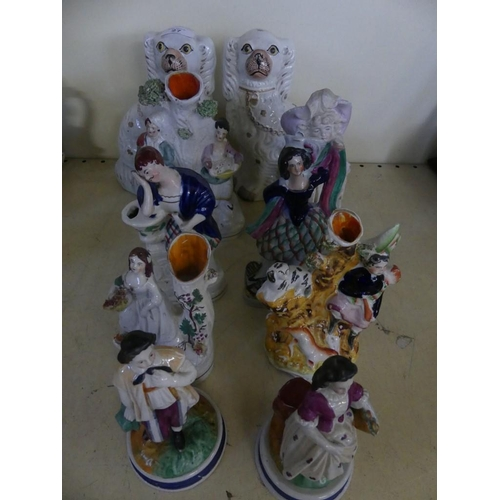 27 - A mixed lot of various Staffordshire items, comprising a pair of dogs, seven various figures and a C...