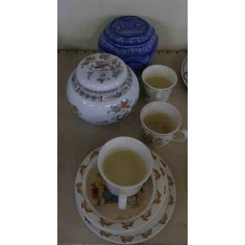 29 - A mixed lot of Royal Doulton Bunnykins china wares comprising mugs, bowls, plate, Wedgwood ginger ja...