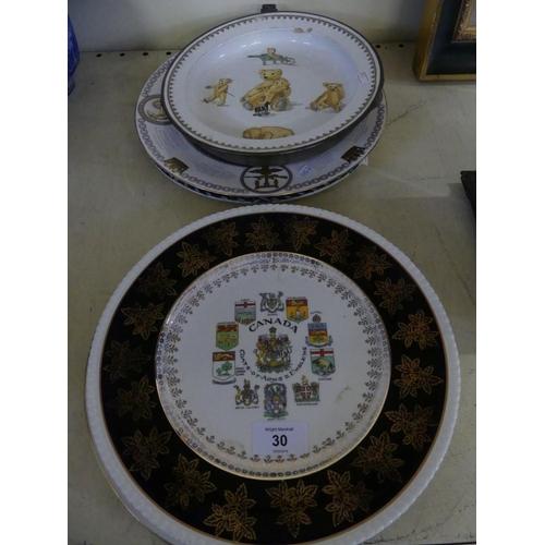 30 - A mixed lot comprising a Caverswall Earl Mountbatten of Burma commemorative plate, a Burleigh ware W...