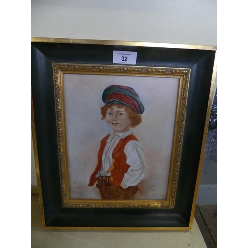 32 - A three quarter length portrait of a young boy in 19th Century outfit  Painted on porcelain, unsigne...