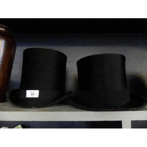 35 - Two vintage top hats, one marked Austin Reed Ltd London, Gerrard Hats, the other marked Superior Man...