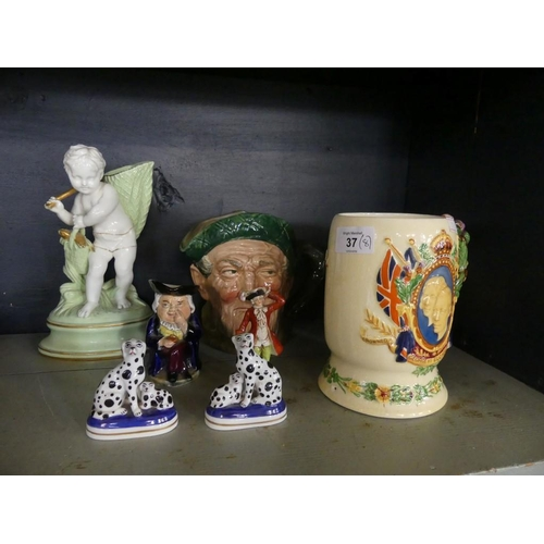 37 - A mixed lot comprising a Fieldings Crown Devon musical jug produced for the coronation of George VI,...