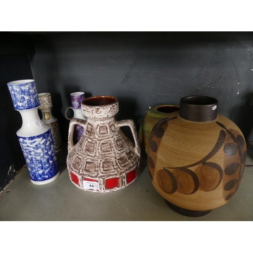 44 - Three Bavarian studioline vases, together with a West German Fat Lava double handled vase, two simil...