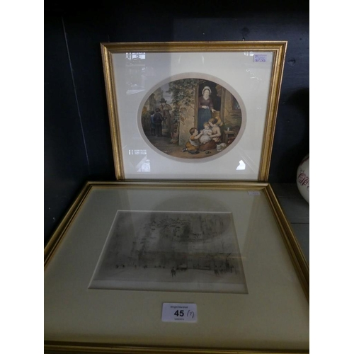 45 - William Walcott - A city street scene engraving, framed and glazed together with a further Baxter pr...