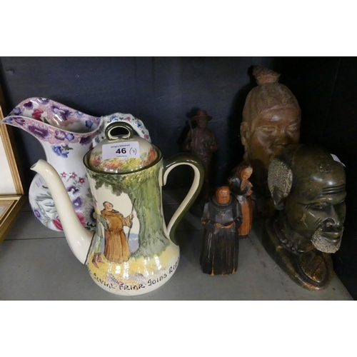46 - A mixed lot comprising a pair of wooden figures modelled as a monk and an elderly lady, together wit...