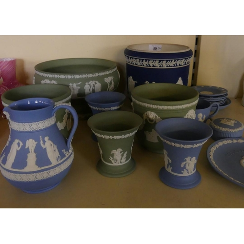 59 - A collection of Wedgwood and other Jasperwares to include various jardinieres, pedestal bowl, vases,...