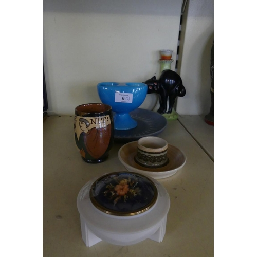 6 - A mixed lot comprising Denby Pottery plate, a Beswick egg cup, a black cat candlestick and other mix...