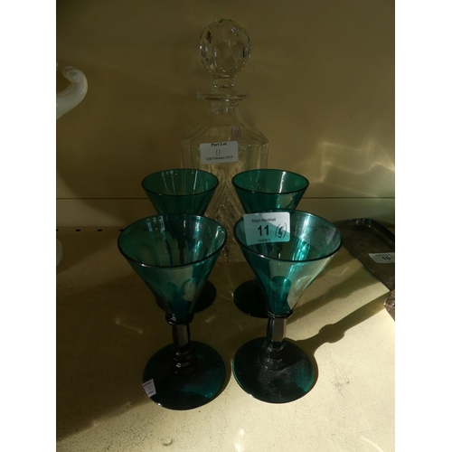 11 - A mixed lot comprising four 19th Century turquoise small wine glasses, on cut stems, together with a...