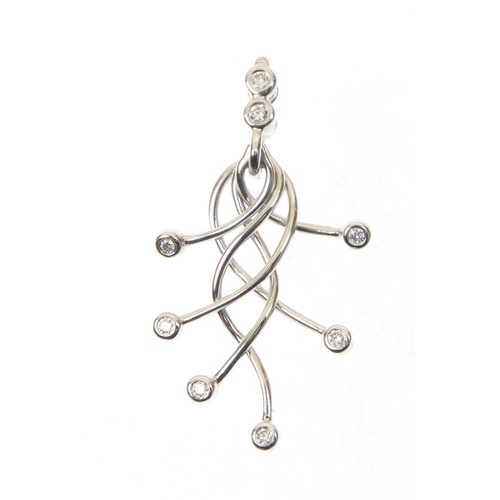 25 - An 18ct gold diamond pendant The six brilliant cut diamond collet terminals suspended from a series ...