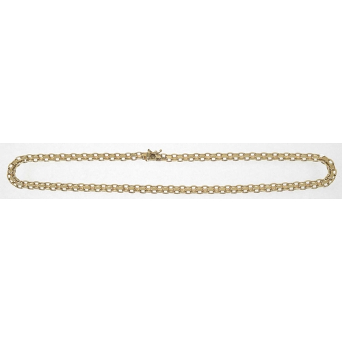 58 - A 1970s 9ct gold necklace Designed as a fancy link chain with push piece clasp, import marks for Lon...