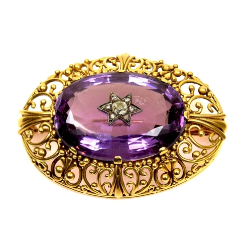60 - A mid Victorian amethyst and diamond brooch The old and rose cut diamond star cluster inset to the o...