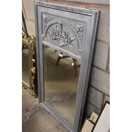 13 - A late 19th Century French silvered wall mirror....