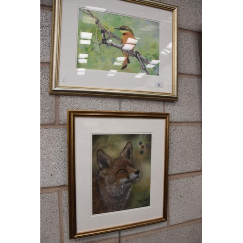 23 - Kat Davies 'Study of a Vixen', a pastel and Mike Boorman, 'Little Bee Eater', acrylic....