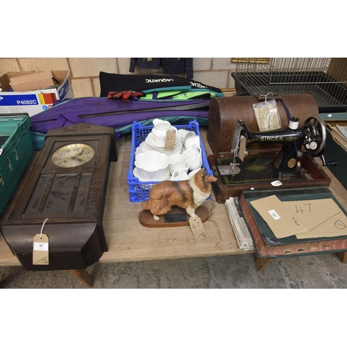 47 - A collective lot to include 1920's oak cased wall clock, Shelly teawares, Beswick model of a rough C...