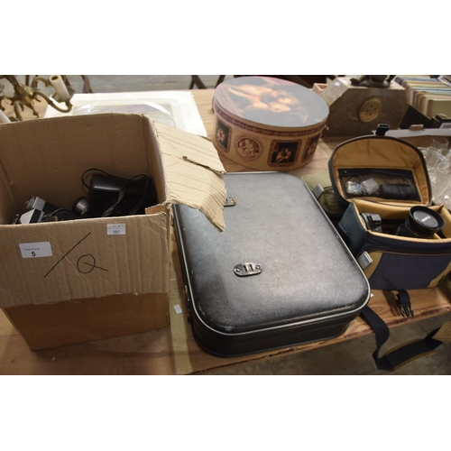 5 - A collection of cameras and equipment to include a Cannon Eos 400d digital camera, cased, a Russian ...