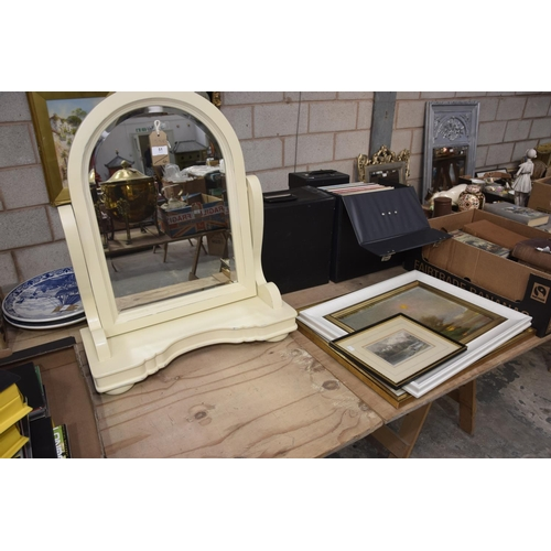 51 - A painted Victorian style toilet mirror, oil on canvas, 'Sun Set', watercolour of a church and a 19t...