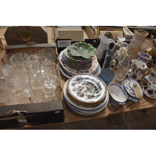 6 - A quantity of glassware and ceramics to include table glassware, blue and white meat plates, leaf pl...