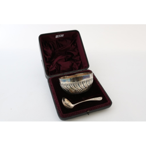 11 - Victorian Bowl and Sugar Sifter Spoon - Boxed - 5.7ozt...