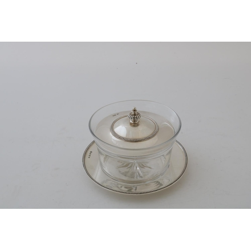 14 - Silver Mounted Glass Butter Dish and Stand...