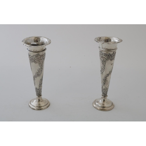 15 - Pair of Silver William Comyns Vases...