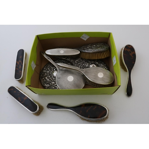 22 - Three Silver Hand Mirrors, Three Brushes and Four Silver Mounted Tortoiseshell Brushes...