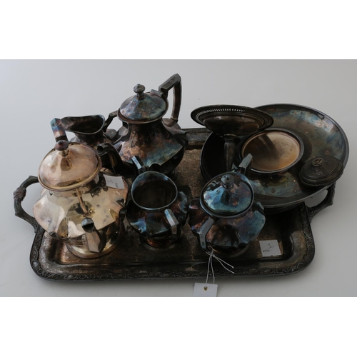 25 - Silver Plated Tea Set, Tray and Other Silver Plate...