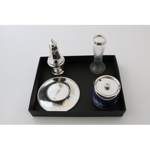 28 - Silver Sugar Caster, Glass Vase, Jasperware, Pot and a Stand - 4.4ozt...