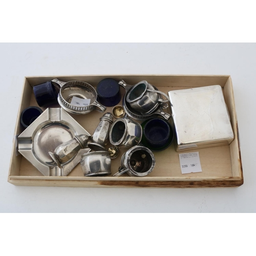 30 - Six Piece Silver Cruet Set, Two Salts (one liner), Cigarette Box and an Ash Tray - 8.4ozt...