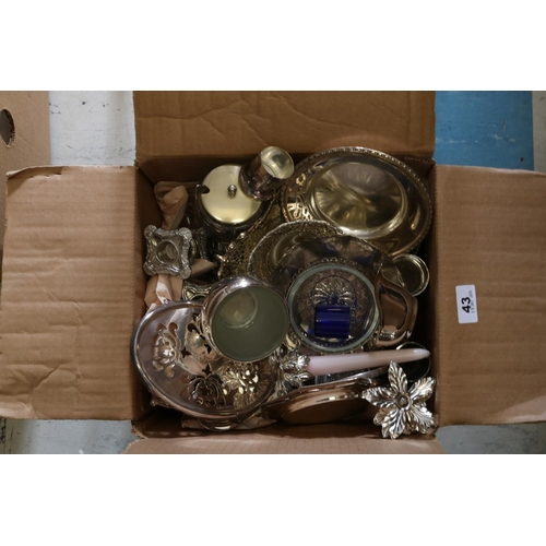 43 - Box of Silver Plate to include Candlestick etc...