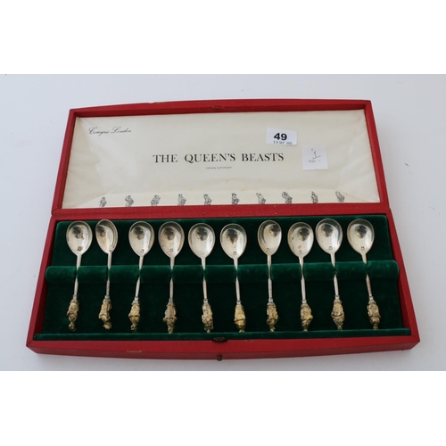 49 - Set of Silver Cased Spoons - Queen's Beasts...
