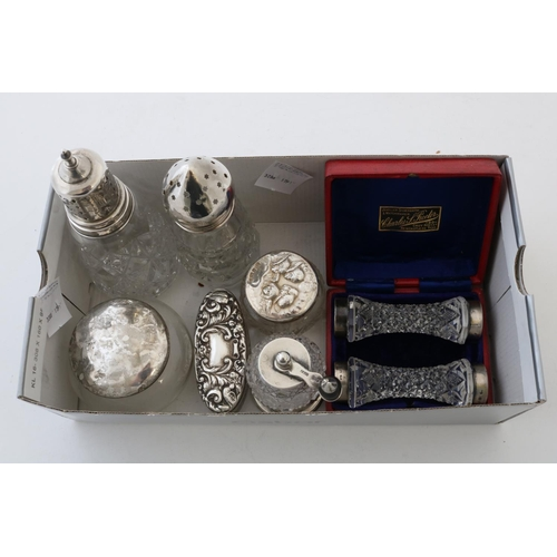 55 - Silver Mounted Glass Pieces to include Two Sugar Casters, a Pepper Mill, Three Boxes and a Cased Pai...