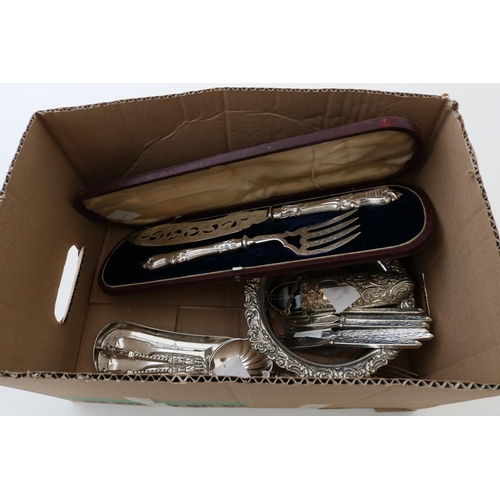 9 - Cased Pair of Fish Servers, Crumb Scoop, Spoons and Forks, Coaster and Spectacles in Case...