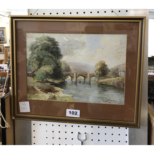 102 - C.W. Fothergill, Pevensey and Buckfastleigh Watercolours 1896 and Another by Reid, 1819, largest 27 ...