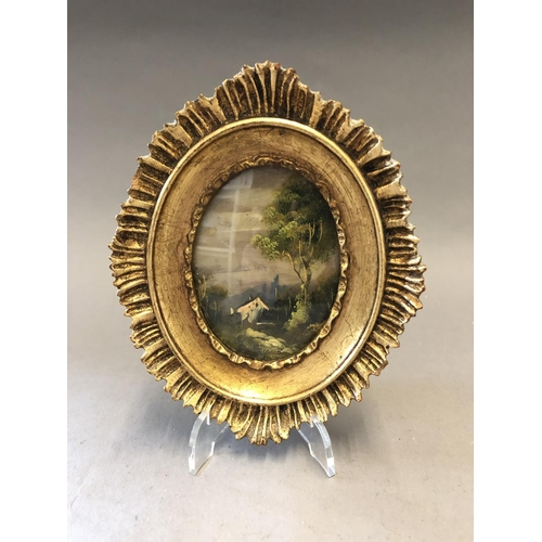 11 - Miniature Gilt Framed Oil on Copper Picture...